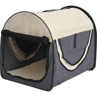 PawHut Hundetransportbox in Größe M M: 61 x 46 x 51 cm (LxBxH) | Hundebox Transportbox faltbar Hundetransportbox - Bild 1
