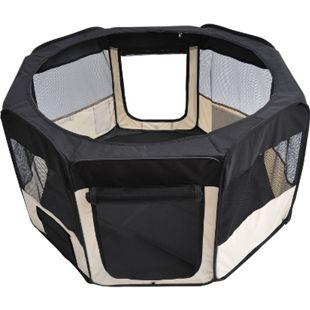 PawHut Welpenauslauf faltbar schwarz, cremig-weiß 125 x 125 x 58 cm (LxBxH)   Freilaufgehege Laufstall Welpenzaun Tierlaufstall - Bild 1