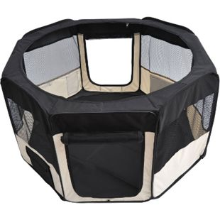 PawHut Welpen-Auslaufgehege faltbar schwarz, cremig-weiß 114 x 114 x 58 cm (LxBxH) | Welpenauslauf Laufstall Welpenzaun Freilaufgehege - Bild 1