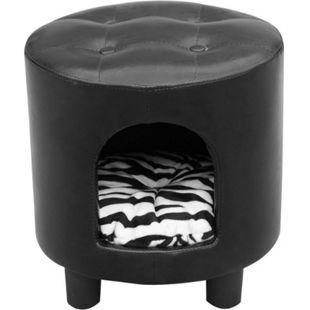 PawHut 2 in 1 Hocker inklusive Katzenhöhle schwarz, weiß 39 x 39 x 42 cm (LxBxH) | Hocker Hundehöhle Tierhaus Kuschelhöhle Tierbett - Bild 1