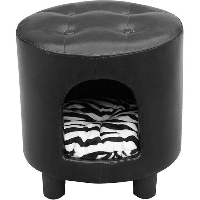PawHut 2 in 1 Hocker inklusive Katzenhöhle schwarz, weiß 39 x 39 x 42 cm (LxBxH)   Hocker Hundehöhle Tierhaus Kuschelhöhle Tierbett - Bild 1