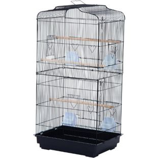PawHut Vogelvoliere für Papagei und Wellensittich schwarz 47,5 x 36 x 91 cm (LxBxH) | Vogelbauer Vogelkäfig Vogelhaus Metallvoliere - Bild 1