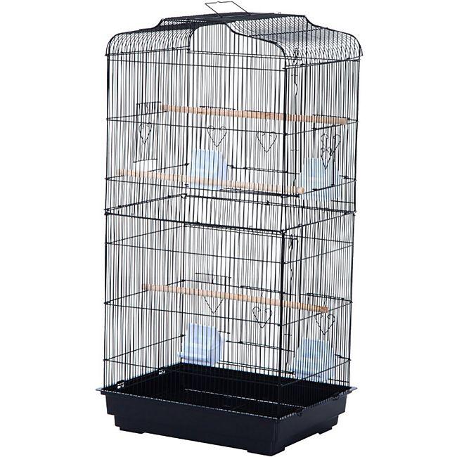 PawHut Vogelvoliere für Papagei und Wellensittich 47,5 x 36 x 91 cm (LxBxH) | Vogelbauer Vogelkäfig Vogelhaus Metallvoliere - Bild 1