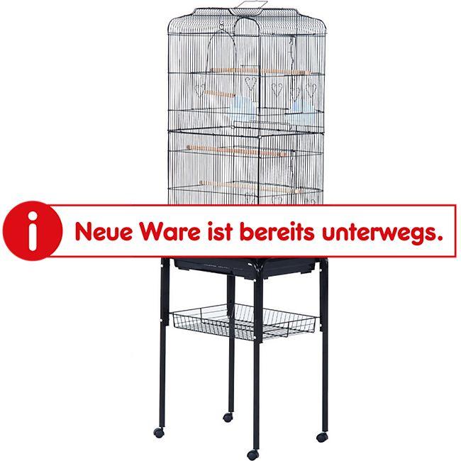 PawHut Vogelvoliere mit rollbarem Untergestell 47,5 x 37 x 153 cm (LxBxH) | Vogelbauer Vogelkäfig Vogelhaus Metallvoliere - Bild 1
