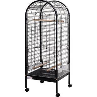 PawHut Vogelvoliere für Papagei schwarz, natur 54 × 54 × 151 cm (LxBxH) | Vogelkäfig Vogelhaus Papageikäfig Metallvoliere - Bild 1