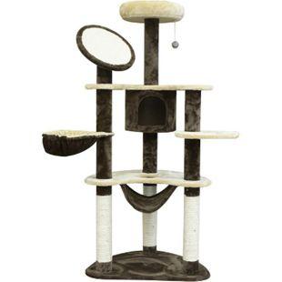 PawHut Katzenbaum mit Sisalsäulen cremeweiß, kaffeebraun 65 x 50 x 153 cm (LxBxH) | Kratzbaum Katzenkratzbaum Kletterbaum Spielbaum - Bild 1