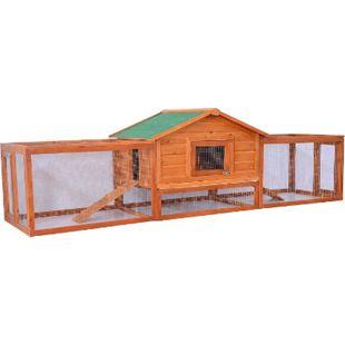 PawHut Kaninchenstall mit Seitengehege braun, grün 310 × 68 × 87 cm (LxBxH) | Hasenstall Hasenkäfig Kaninchenkäfig Kleintierstall - Bild 1