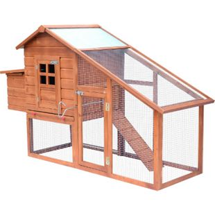 PawHut Hühnerstall mit Laufstall natur, weiß 190 x 66 x 116 cm (LxBxH) | Laufstall mit Legenest Hühnerhaus mit Auslauf - Bild 1