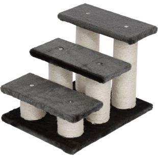 PawHut Katzentreppe mit 3 Stufen grau 45 x 35 x 34 cm (LxBxH) | Tiertreppe Hundetreppe Treppe Stufen Aufstieg - Bild 1