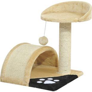 PawHut Katzenbaum mit Plüsch 36 x 36 x 44 cm (LxBxH) | Kratzbaum Katzenkratzbaum Kletterbaum Spielbaum - Bild 1