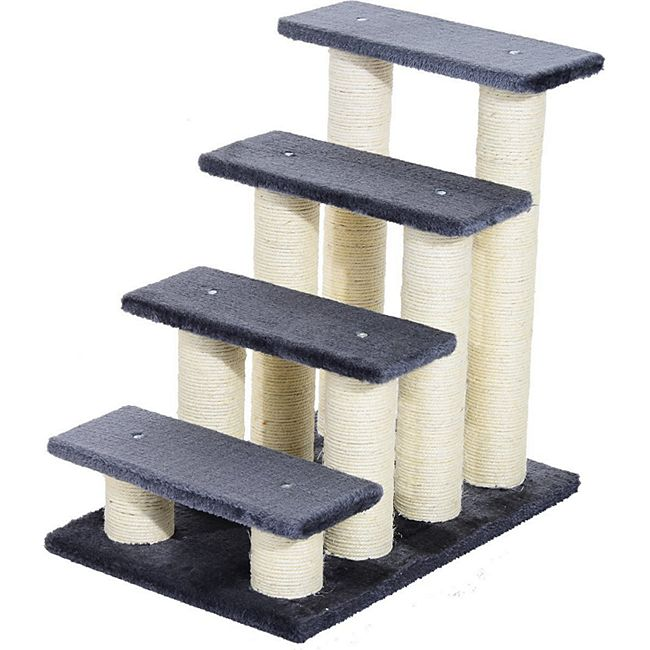 PawHut Katzentreppe mit 4 Stufen grau 60 x 42 x 61 cm (LxBxH)   Katzentreppe Hundetreppe Treppe für Tiere - Bild 1