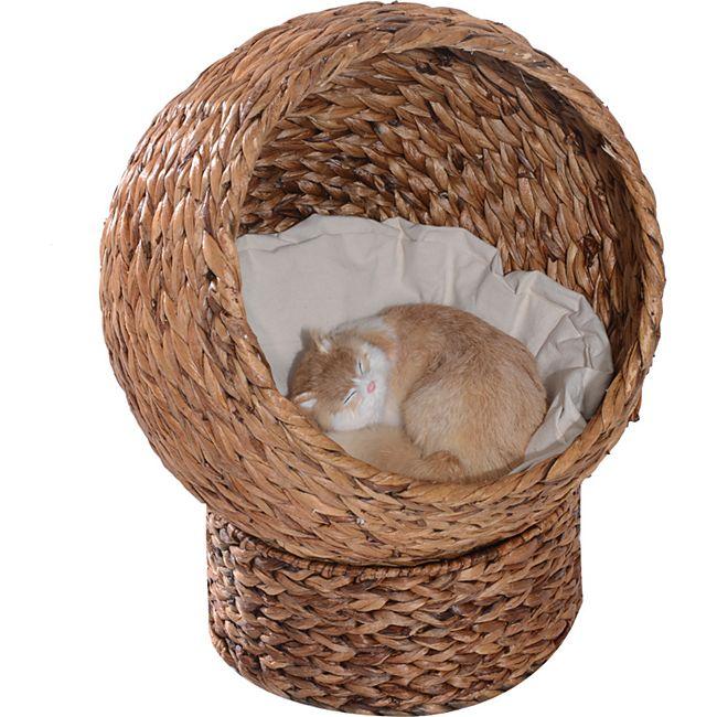 PawHut Katzenkorb mit Kissen braun 42 x 33 x 52 cm (LxBxH) | Katzenhaus Katzenhöhle Katzenbett Schlafhöhle - Bild 1