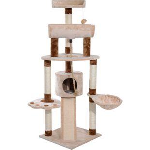 PawHut Katzen Kletterbaum mit Spielseil und Mäuschen beige, braun 49 x 49 x 145 cm (LxBxH) | Katzenbaum Kratzbaum Katzenkratzbaum Schlafplatz - Bild 1