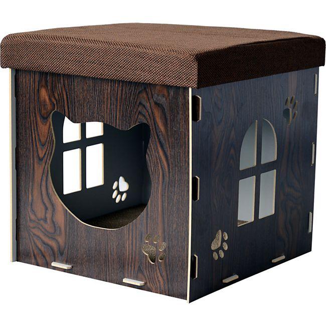 PawHut 2 in 1 Katzenhöhle als Fußstütze 40x 40 x 40 cm (LxBxH) | Katzenschrank Katzenhaus Katzenversteck Hocker - Bild 1
