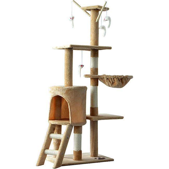 PawHut Katzenkratzbaum mit 4 Spielmäusen beige, weiß 50 x 35x 131 cm (LxBxH) | Kratzbaum Katzenbaum Kletterbaum Spielbaum - Bild 1