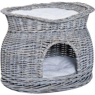 PawHut Katzenkorb mit 2 Kissen grau 56 x 37 x 40 cm (LxBxH) | Katzenhaus Katzenhöhle Katzenbett Schlafhöhle - Bild 1