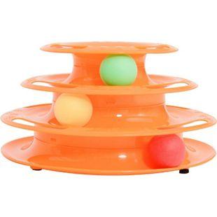 PawHut Katzen Spielturm mit 3 Bällen 25 x 16 x 13 cm (LxBxH) | Tierspielzeug Kugelbahn Kreisel Katzenspielzeug - Bild 1