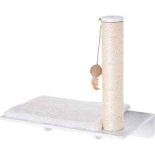 PawHut Kratzbaum für Wandmontage 55 x 30 x 50 cm (LxBxH) | Katzenliege mit Plüsch Katzenbaum Katzenkratzbaum - Bild 1