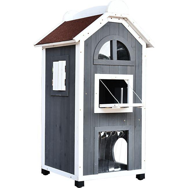 PawHut Katzenvilla mit Asphaltdach grau, weiß 59 x 55 x 109 cm (LxBxH) | Katzenhaus Katzenhütte Katzenhöhle Kleintierhaus - Bild 1