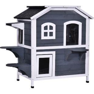 PawHut Katzenhaus mit 2 Etagen grau, weiß 78 x 55,5 x 91 cm (LxBxH) | Holzhaus Katzenhütte Katzenhöhle Kleintierhaus - Bild 1