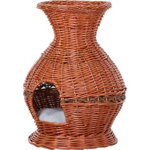 PawHut Katzenhöhle in Vasenform braun 41 x 57 cm (ØxH) | Katzenhaus Katzenkorb Katzenbett Schlafhöhle - Bild 1