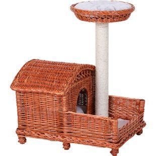 PawHut Katzenhaus mit Sisalsäule orange-braun/grau 62 x 42 x 72 cm (LxBxH) | Katzenhöhle Katzenkorb Katzenbett Schlafhöhle - Bild 1