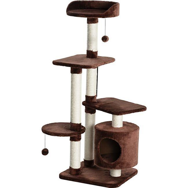 PawHut Kratzbaum mit Spielbällen und Kuschelhöhle dunkelbraun 45 x 40 x 118 cm (BxTxH) | Katzenkratzbaum Kletterbaum Kratzstämme Katzenbaum - Bild 1