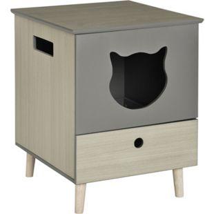 PawHut Katzentoilette mit Schublade grau 51 x 56 x 65 cm (BxTxH) | Katzenklo Katzenhaus mit WC Katzenschrank mit Schublade - Bild 1