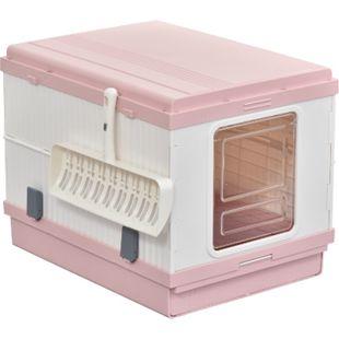 PawHut Katzentoilette mit Auffangschale und Schaufel rosa, weiß 54 x 43 x 42 cm (LxBxH) | zusammenklappbare Reisetoilette Schalentoilette - Bild 1