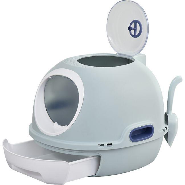 PawHut Katzentoilette mit Katzenklappe blau 47 x 55 x 44 cm (BxTxH) | Katzenklo ausziehbare Schalentoilette Toilettenhöhle - Bild 1