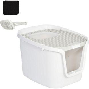 PawHut Katzentoilette mit Tür weiß, grau 55,5 x 44,5 x 38,3 cm (LxBxH) | Katzenklo Katzenklo Katzentoilette mit Schaufel - Bild 1
