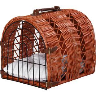 PawHut Katzenkorb mit Tragegriff braun 42 x 35 x 37 cm (LxBxH) | Katzenbett mit Kissen Transportbox Transportkorb - Bild 1