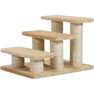 PawHut Katzenteppe mit 3 Stufen beige 45 x 35 x 34 cm (LxBxH) | Katzentreppe Hundetreppe Treppe für Tiere - Bild 1