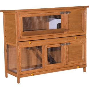 PawHut Kaninchenstall Doppelstock braun 120 x 48 x 100 cm (LxBxH) | Hasenstall Hasenkäfig Kaninchenkäfig Kleintierstall - Bild 1