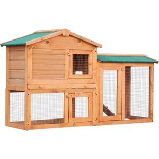 PawHut Kaninchenstall mit Freigehege braun, grün 145 x 45 x 85 cm (LxBxH) | Hasenstall Hasenkäfig Kaninchenkäfig Kleintierstall - Bild 1
