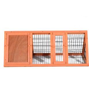 PawHut Dreieckiger Kaninchenstall mit Freigehege natur 118 x 50 x 45 cm (LxBxH) | Hühnerstall Hühnerhaus Kleintierstall Hasenstall - Bild 1