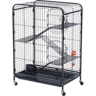 PawHut Hamsterkäfig 4-stöckig schwarz 64 x 44 x 93 cm (LxBxH) | Mäusekäfig Nagerkäfig Nagerhaus Kleintierkäfig - Bild 1