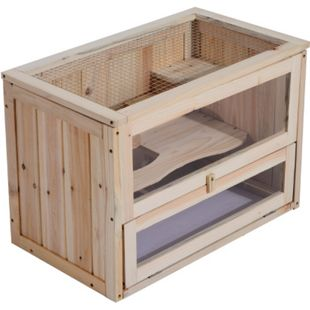 PawHut Nagerkäfig mit aufklappbarem Dach natur 60 x 35 x 42 cm (LxBxH) | Hamsterkäfig Mäusekäfig Chinchillakäfig Kleintier - Bild 1