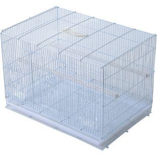 PawHut Vogelkäfig mit ausziehbarem Unterbrett weiß 60 x 41 x 41 cm (LxBxH) | Vogelbauer Vogelvoliere Vogelhaus Häuschen Käfig - Bild 1