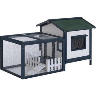 PawHut Meerschweinchenstall mit Freigehege grün, weiß 151 x 78 x 84 cm (LxBxH) | Hasenstall Hasenkäfig Kaninchenkäfig Kleintierstall - Bild 1
