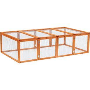 PawHut Freilaufgehege natur 181 x 100 x 48 cm (LxBxH) | Freigehege Hasenstall Kleintier-Gehege Auslaufkäfig - Bild 1