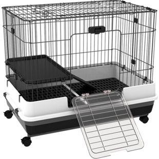 PawHut Hasenkäfig mit Rollen schwarz, weiß, grau 81,2 x 52,7 x 66 cm (LxBxH) | Hasenstall Hasenkäfig Kaninchenkäfig Kleintierstall - Bild 1
