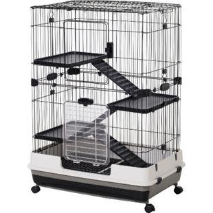 PawHut Hamsterkäfig mit Rollen schwarz, weiß, grau 81,2 x 52,7 x 110 cm (LxBxH) | Mäusekäfig Nagerkäfig Nagerhaus Kleintierkäfig - Bild 1