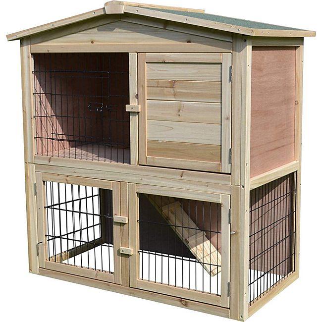 PawHut Kaninchenstall mit Freilauf natur 98 x 54 x 100 cm (LxBxH) | Hasenkäfig Kaninchenhaus Meerschweinchenstall - Bild 1
