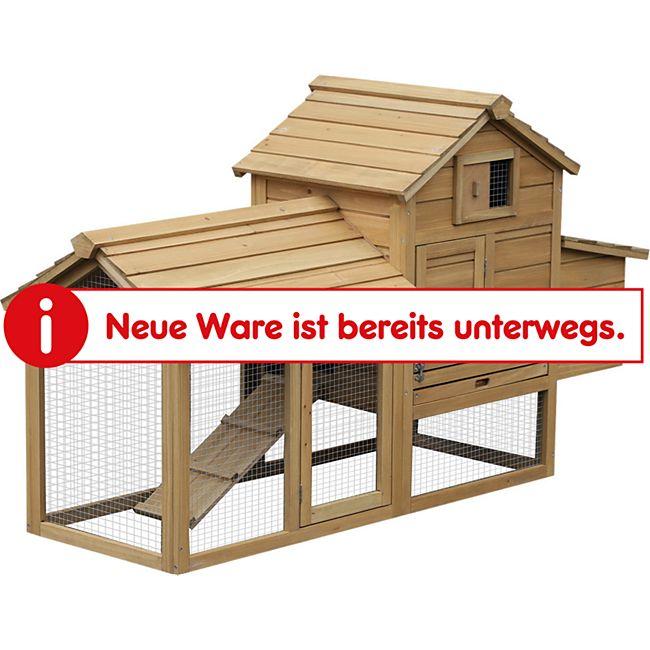 PawHut Hühnerstall mit Laufstall natur 150,5 x 54 x 87 cm (LxBxH)   Freigehege mit Legenest Hühnerhaus mit Auslauf - Bild 1