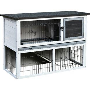 PawHut Kaninchenstall mit Laufstall hellgrau, dunkelgrau, schwarz 108 x 45 x 78 cm (LxBxH) | Hasenstall Hasenkäfig Kaninchenkäfig Kleintierstall - Bild 1