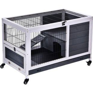 PawHut Hasenkäfig mit Rollen grau, weiß 90 x 53 x 59 cm (LxBxH) | Hasenstall Kaninchenstall Kaninchenkäfig Kleintierstall - Bild 1