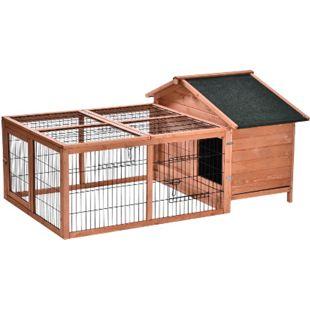 PawHut Hasenstall mit Freigehege natur 146,7 x 95,5 x 69 cm (LxBxH)   Hasenkäfig Kaninchenstall Kaninchenkäfig Kleintierstall - Bild 1