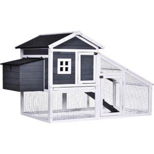PawHut Hühnerstall mit Laufstall grau, weiß 175,4 x 95,5 x 100 cm (LxBxH) | Freigehege mit Legenest Hühnerhaus mit Auslauf - Bild 1