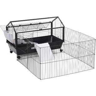 PawHut Meerschweinkäfig mit Freigehege schwarz 88 x 130 x 56 cm (LxBxH) | Hasenkäfig Nagerkäfig Kaninchenkäfig Kleintierkäfig - Bild 1
